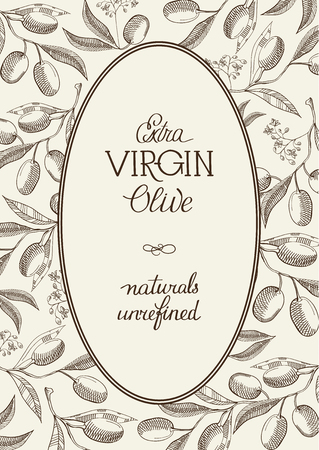 Abstract natural light poster with text in oval frame and olive tree branches in vintage style vector illustration 向量圖像