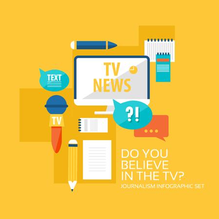 Correspondent flat infographic set with journalistic icons and elements on orange background vector illustration Illustration