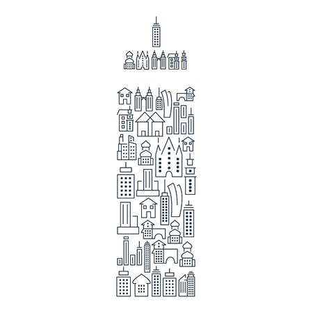 Municipal and living buildings icons set in shape of skyscraper in lined style isolated vector illustration Çizim