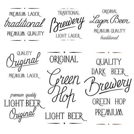 Monotone simple original style poster on white background with words traditional premium tasty dark beer, brewery, malt and other inscriptions concerning the famous hop drink vector illustration