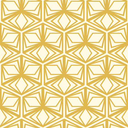 Abstract seamless pattern in kaleidoscope style with white four-cornered shapes and yellow triangles vector illustration Illustration