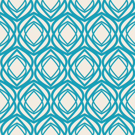 Abstract vintage seamless pattern with geometric turquoise shapes of repeating structure in monochrome style vector illustration