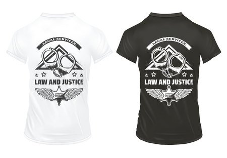 Vintage law and justice prints template with inscription handcuffs and police badge on shirts 向量圖像