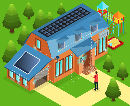 Isometric alarm installation in house concept