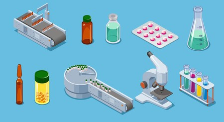 Isometric pharmaceutical industry elements set with packing equipment pills drugs bottles tubes pipette microscope isolated vector illustration