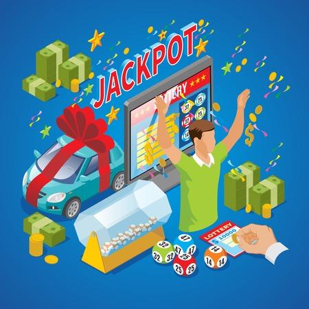 Isometrische Lotteriezusammensetzung mit Siegergeld prägt lokalisierte Vektorillustration der sofortigen Loto Bälle der Aufschrift der Autojackpot-Verlosungstrommel Fernsehen Vektorgrafik