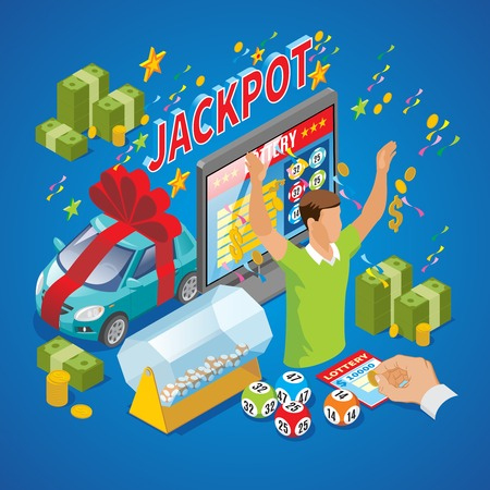 Isometric lottery composition with winner money coins car jackpot inscription instant raffle drum tv loto balls isolated vector illustration