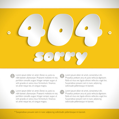 Template for web page with message about  connection error number 404 made on yellow background by letters cut from white paper vector  illustration