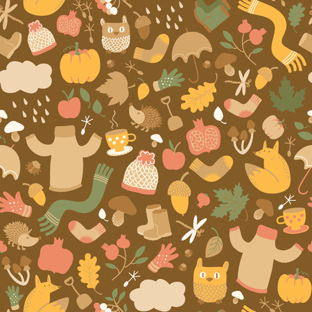 Autumn seamless pattern with isolated doodle style decorative icons of fall foliage mushrooms flowers and animal characters vector illustration Иллюстрация