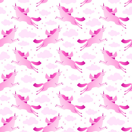 Unicorns pink and white seamless pattern with clouds and stars flat vector illustration