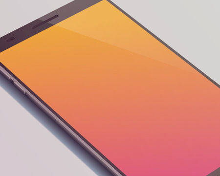 Modern touch screen smartphone concept with beautiful orange touchscreen display with shadow on the grey background and four cutting corners vector illustration