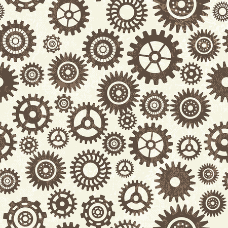 Industrial seamless pattern with steel gears of different shape and size on light background. Flat vector illustration. Foto de archivo - 96839071
