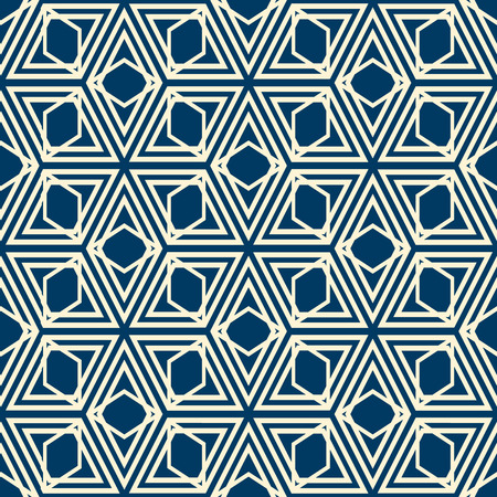 Abstract minimalistic geometric vintage seamless pattern with repeating diamond shapes in kaleidoscope style, vector illustration.