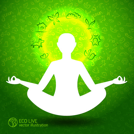 Ecological harmony concept with eco symbols and person in lotus position silhouette on green background vector Illustration Иллюстрация