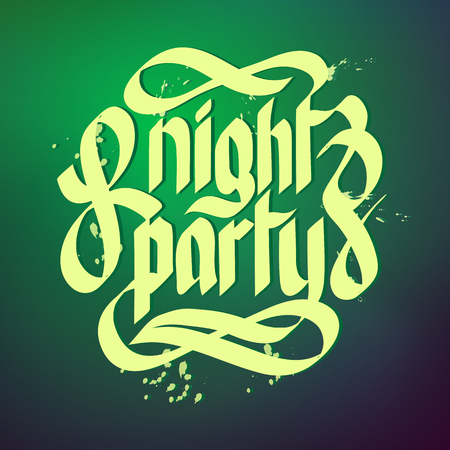 Typographical concept background with words night party written in beautiful font flat vector illustration Ilustração