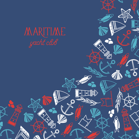 Maritime colorful yacht club poster divided on two parts where there is the name of yacht club and many maritime objects such as flags, stars, stones on blue background vector illustration