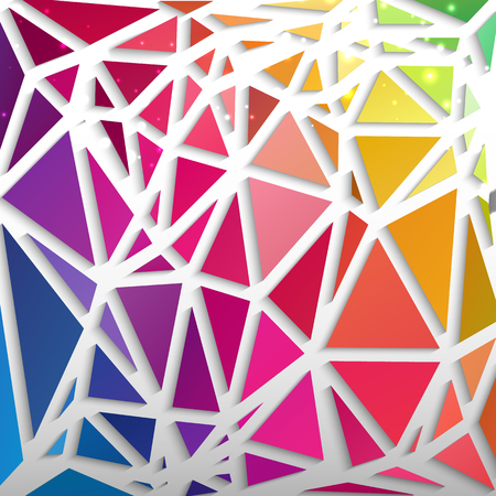 Abstract colorful pattern composed from triangles rainbow colors with white edges flat vector illustration