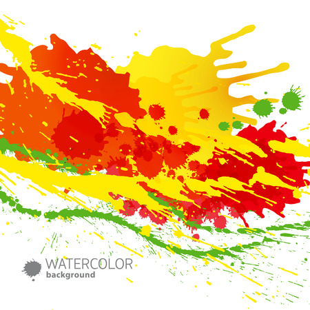Abstract multicolored background with colored splashes paints and stains on white background, vector illustration. 向量圖像