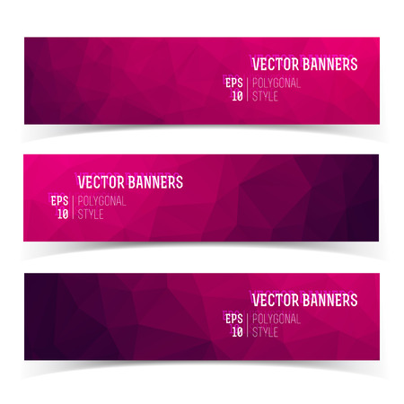 Set of modern horizontal banners with polygonal background of crystal structure in purple shades. Flat vector illustration.  イラスト・ベクター素材