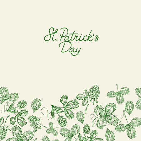 Green and white decorative design postcard doodle hand drawn with lettering about st. patricks day and hop branches vector illustration
