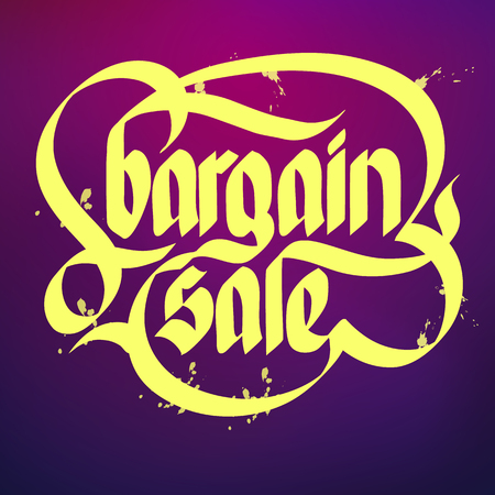 Bright typographical concept with yellow words bargain sale on purple background flat vector illustration Standard-Bild - 96848612