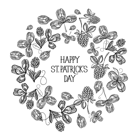 St Patricks Day floral round composition with inscription and sketch irish clover on light background vector illustration