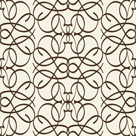Arabesque seamless pattern in line style with intricate ornament composed from squiggles elements flat vector Illustration