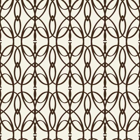 Monochrome seamless pattern similar to decorative trellis with intricate line tracery weaves flat vector Illustration