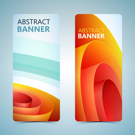 Abstract vertical banners with orange rolled wrapping paper on light background isolated vector illustration
