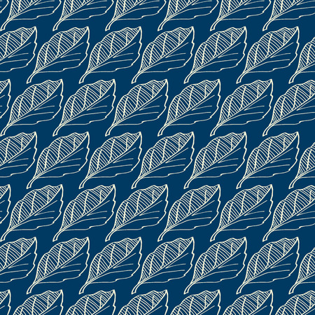 Floral seamless pattern with repeating white hand drawn leaves on dark blue background flat vector illustration Çizim