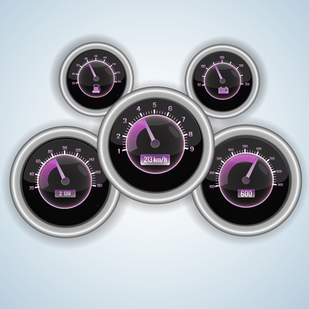 Speedometer interface set with purple elements on each dials and light background vector illustration Illustration