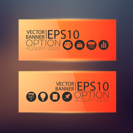 Business web horizontal banners in orange color with icons on blurred background isolated vector illustration