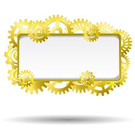 Golden industrial gear mechanism blank frame realistic vector illustration