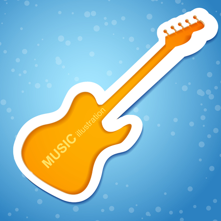 Orange guitar on bright blue background with spots flat vector illustration