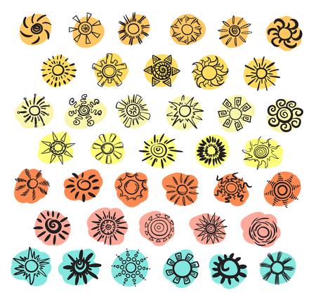 様々な色の孤立したベクトルイラストのスポット上の異なる形状の落書き黒い太陽のコレクション