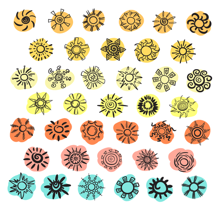 Doodle black suns collection of different shapes on spot of various colors isolated vector illustration  イラスト・ベクター素材