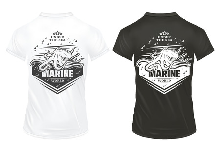Vintage marine underwater life prints template with inscription octopus bubbles and waves on shirts isolated vector illustration