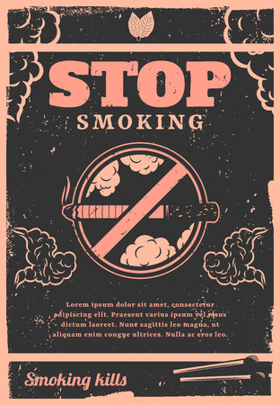 Vintage stop smoking poster with text cigarette matches tobacco leaves and smoke clouds vector illustration