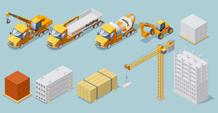 Isometric industrial construction collection with building materials crane concrete mixer heavy cargo trucks  excavator isolated vector illustration