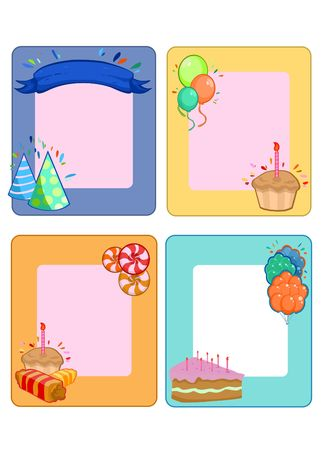Colorful Birthday Party invitation cards set with place for text balloons desserts sweet products ribbon hats vector illustration