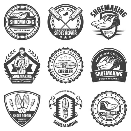 Vintage monochrome shoemaking emblems set with inscriptions cobbler wooden boot repair instruments and tools isolated vector illustration