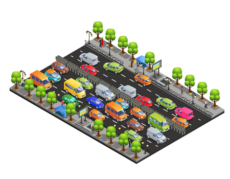 Isometric traffic jam concept with different cars on road trees and walking people isolated vector illustration