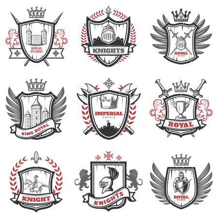 Medieval knight coats of arms set with heraldic shields weapon and elements in vintage style isolated vector illustration