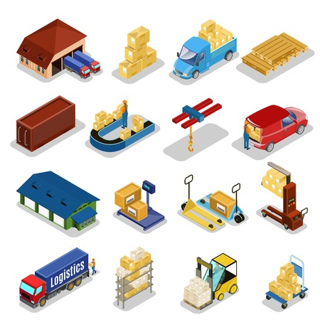 Isometric warehouse icons collection vector illustration set Illustration