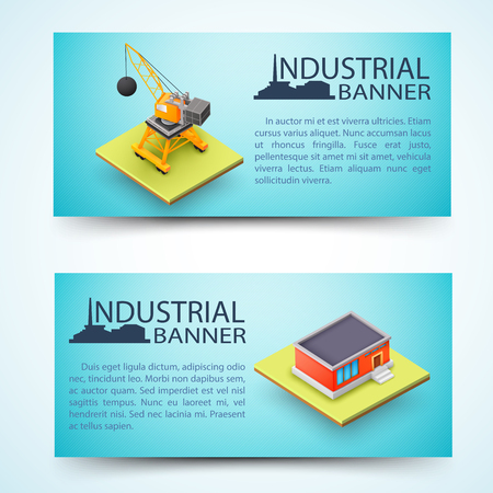 Industrial facility and building machinery horizontal banners with silhouette of factory on blue background isolated vector illustration
