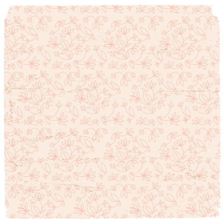 Abstract floral pattern with red flowers in retro style on light background vector illustration