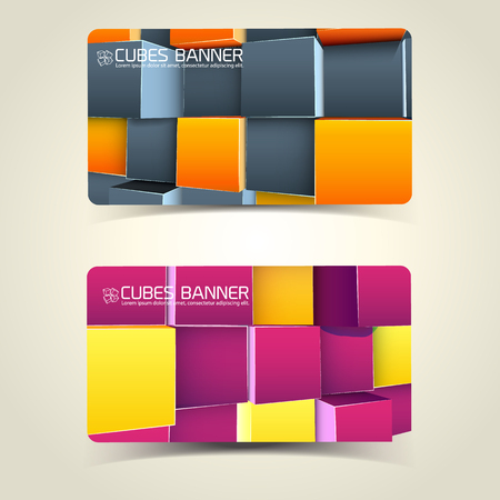 Horizontal abstract banners with geometric logo and 3d cubes of bright colors isolated vector illustration Standard-Bild - 97013655