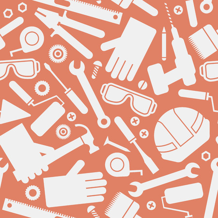 Worker tools seamless pattern with helmet and screwdriver flat isolated vector illustration Ilustrace