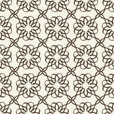 흰색 배경 평면 벡터 일러스트 레이 션에 얇은 검은 테이프에서 뱀 격자와 흑백 꽃 원활한 패턴