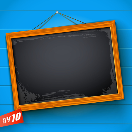 Blank chalkboard hanging on rope with wooden frame on blue background with horizontal planks vector illustration